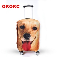 OKOKC Golden Retriever Pattern Luggage Protective Cover For 19 To 32 Inch Trolley Suitcase Elastic Dust