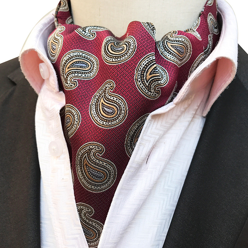 NEW Mens Vintage Paisley Floral Striped Wedding Formal Cravat Ascot Scrunch Self British Style Gentleman Polyester Silk Neck Tie