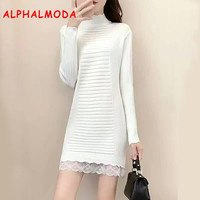ALPHALMODA 2017 Winter Ripped Lace Patchwork New Knitted Bottom Dress Pullovers Solid Color Slim Wrap Hip Vestidos
