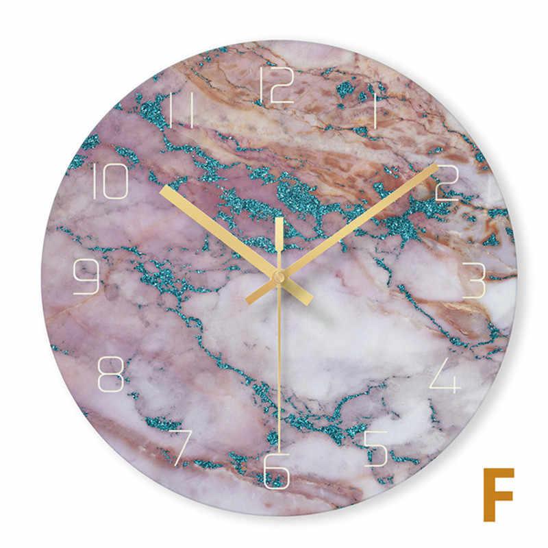 Nordic glass marmur tekstury zegar ścienny nowoczesny minimalistyczny cichy zegar artystyczny kreatywny salon modny zegarek