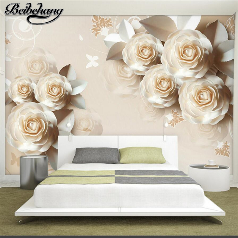 beibehang wallpaper for walls 3 d Customized paper carved roses romantic 3D relief TV background wall paper papier peint behang wallpaper for walls 3 d modern trdimensional geometry 4d tv background wall paper roll silver gray wallpapers for living room