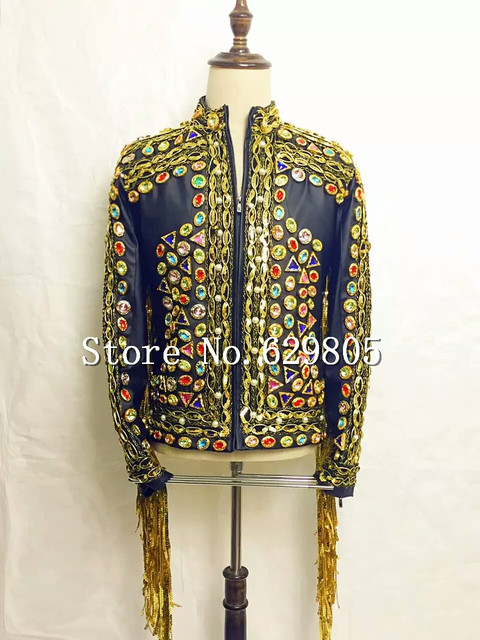 e28a63c255 Fashion Design Vintage Baroque Rhinestones Leather Jacket Tassel Sequins  Blazer Top Male Singer outfit Wear Stage Stones Costume