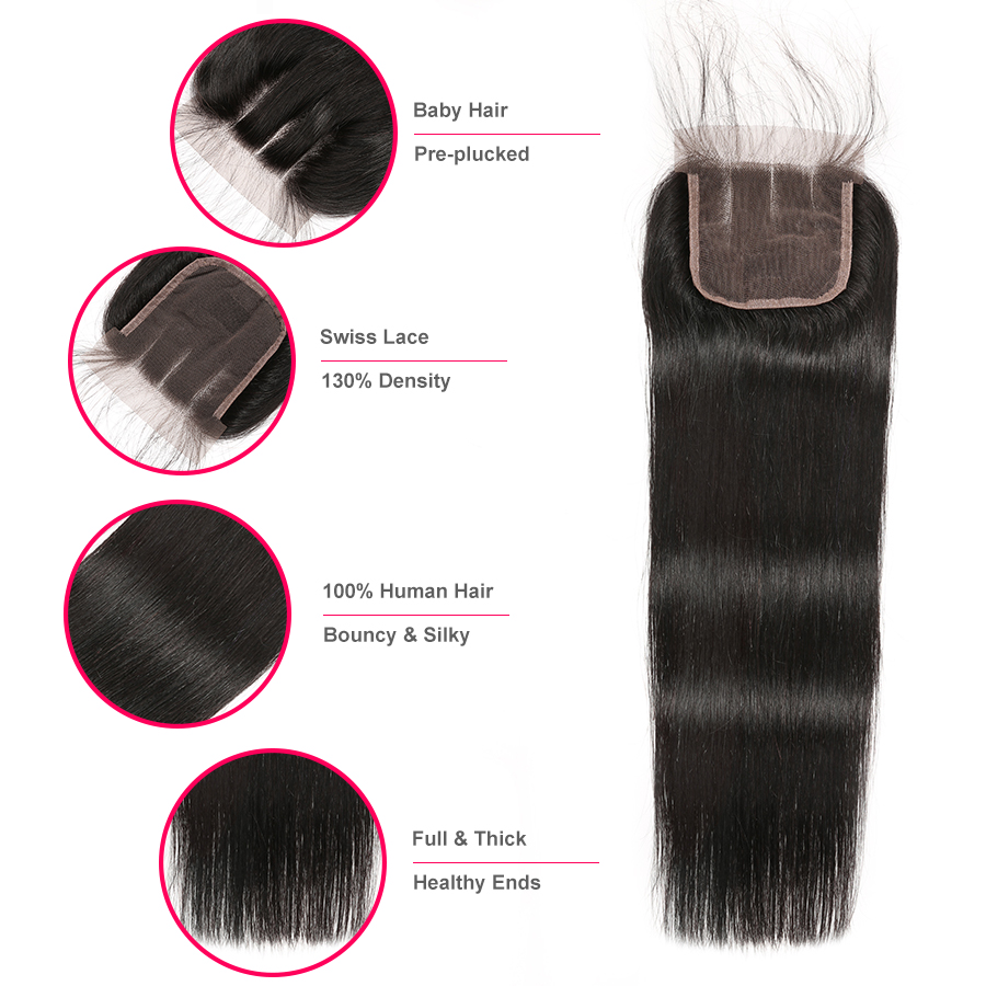 Image 4 - Brazilian Straight Hair Bundles With Closure Human Hair Weave Bundles With Closure Remy Hair 3 Bundles With Closure Wonder girl-in 3/4 Bundles with Closure from Hair Extensions & Wigs