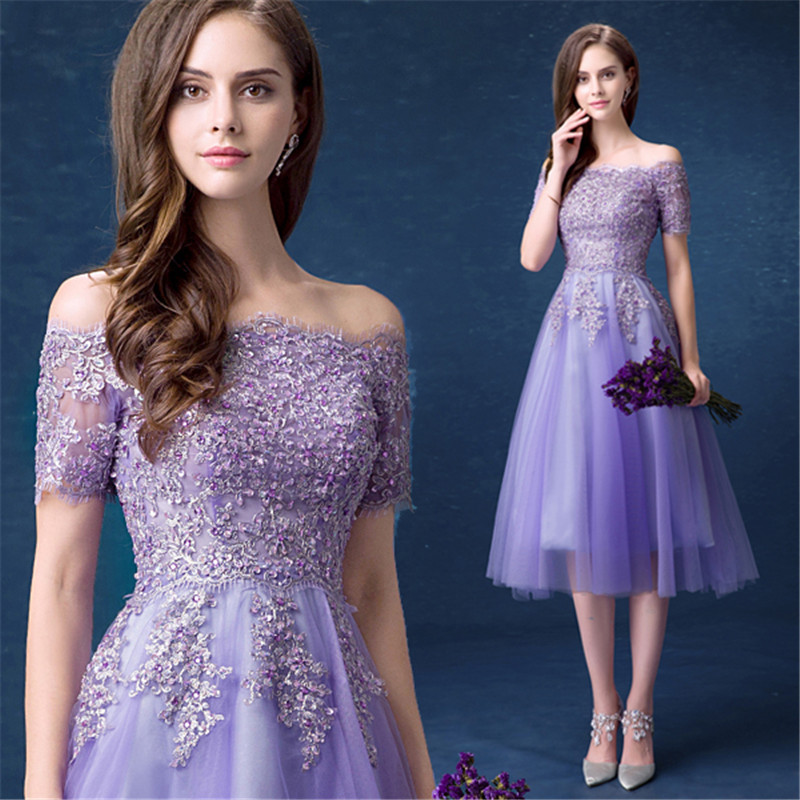 QUEEN BRIDAL Evening Dresses Pueple Short Sleeve Lace Beading Short Party Prom Dress Evening Gowns 2019
