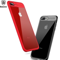 Baseus Mirror Back Cover Case For IPhone 7 Plus Luxury Clear Hard PC Soft TPU Silicone