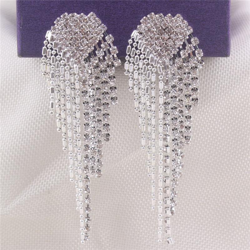 Grace Jun New Arrival Big Heart  Shape Tassel Rhinestone Clip on - Fashion Jewelry - Photo 3