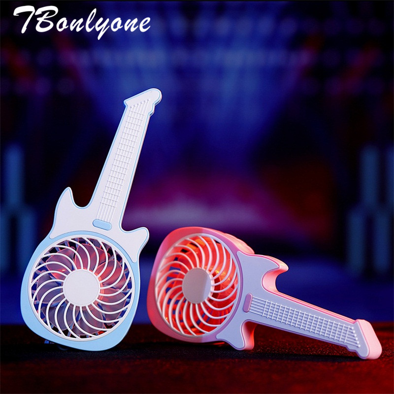 TBonlyone 1200mAh Guitar Fan Electric Cool Fan for Baby Outdoor Travel Portable Fan Table USB Fan Battery Rechargeable Mini Fan