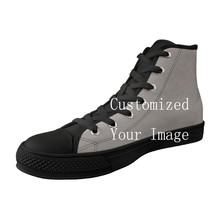 Customized Image LOGO Print Men Shoes High Top Black Canvas Vulcanized Shoes For Male Breathable Lace-up High Quality Sneakers
