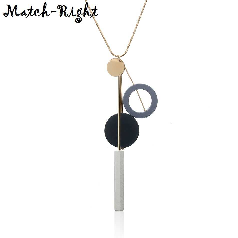 Women's Sweater Long Necklace for Women Geometric Beads Necklaces & Pendants New Jewelry Collare Mujer Collier Colar MX086