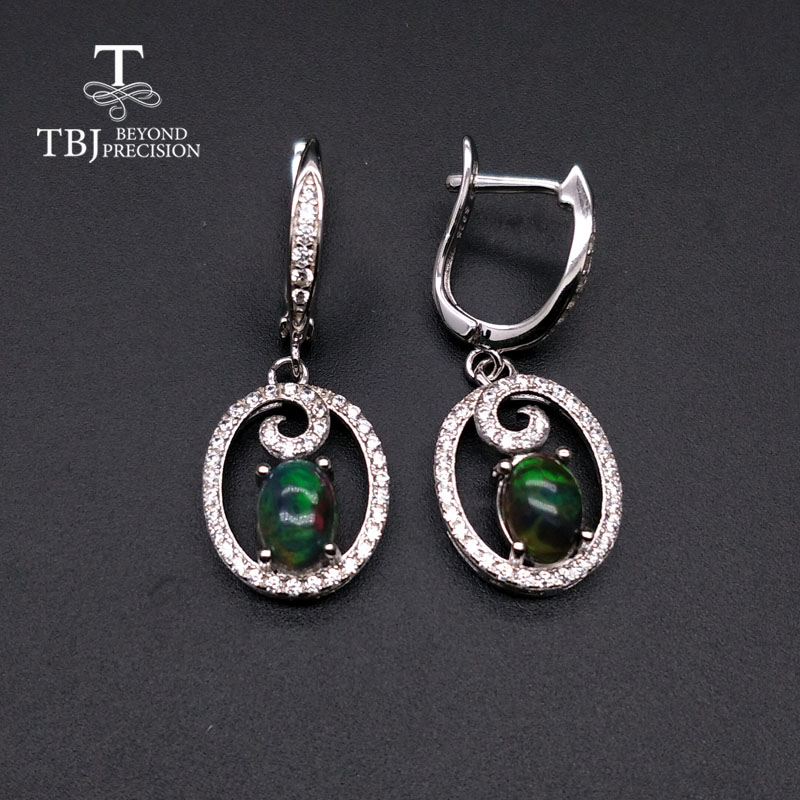 TBJ,Natural Black Opal Oval 5*7mm Clasp Earrings Simple Design 925 Sterling Silver Fine Jewelry Nice Wedding Gift For Women