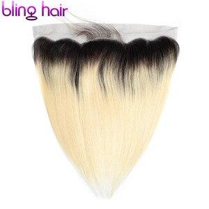 Image 4 - Bling cabelo 613 loira em linha reta fechamento do cabelo brasileiro 13x4 fechamento frontal do laço midlle/livre/três parte 100% remy cabelo humano