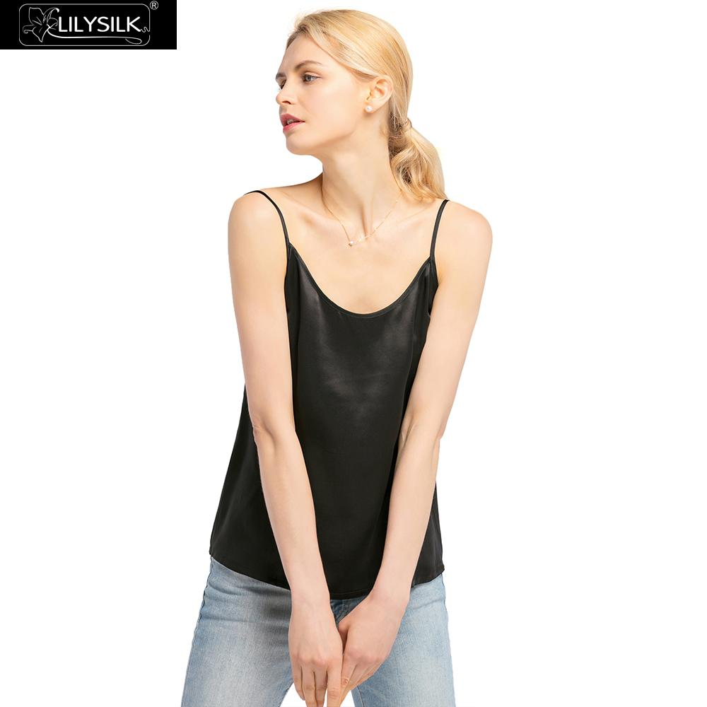 1560ceaa5d LILYSILK Camisole Top Silk Vest Crop Tank Short Easy Matching 19MM Round  Neck White Black Summer NEW Free Shipping-in Camis from Women s Clothing on  ...