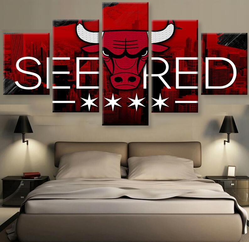 Home Decor Stores Chicago: Modular Wall Paintings 5 Panel Chicago Bulls See Red
