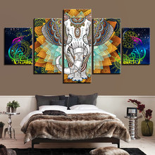 Wall Art Modular Canvas Painting 5 Pieces Colorful Abstract Elephant HD Prints Poster Pictures Cuadros Decor Living Room Frames(China)