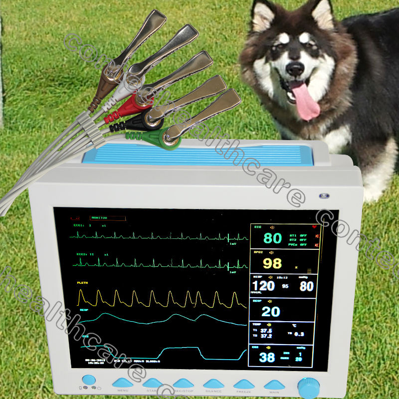 CE veterinary Patient Monitor,ECG NIBP PR Spo2 Temp Resp 12.1colour For Vet use abpm50 ce fda approved 24 hours patient monitor ambulatory automatic blood pressure nibp holter with usb cable