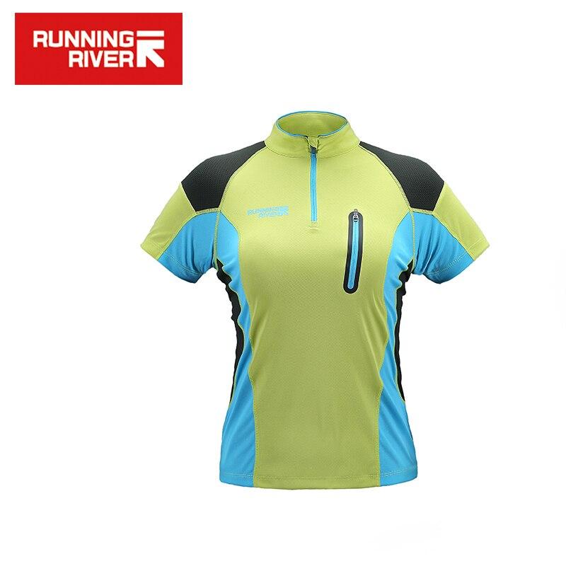 RUNNING RIVER Бренд 2017 с короткими рукавами и воротником для женщин Удобная дышащая быстросохнущая футболка 2 цвета 5 размера # G5220