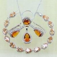 Reginababy серебряный цвет оранжевый Morganite Серьги-кольца Браслеты Ювелирные наборы для Для женщин свадебные Серьги/кольцо