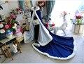 Красный Рождество свадьба пальто зимняя свадьба plain white satin с меховой отделкой с капюшоном обратимым плащ/плащ