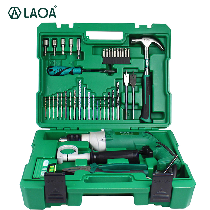 LAOA 50PCS Electric Impact Drill Set Multifunction Power Tools With Professional drills Screwdriver Hammer Socket Pliers цена