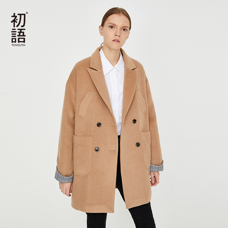 Toyouth Woolen Women Coats Warm Long Casual Outwear Coat Classic Wool Blend Jackets Female Streetwear Autumn