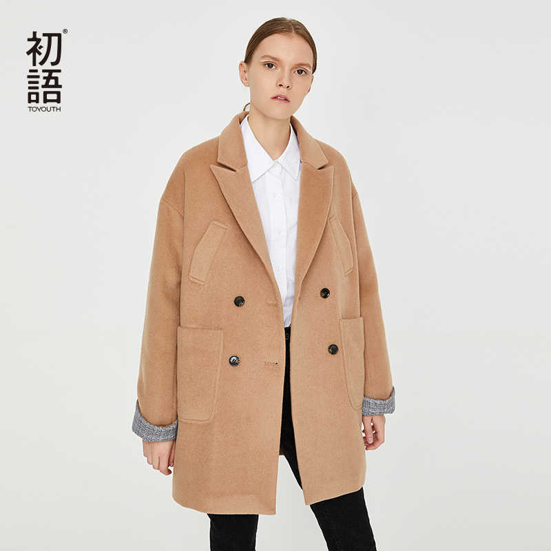 Toyouth Woolen Women Coats Warm Long Casual Outwear Coat Classic Wool Blend Jackets Female Streetwear Autumn Coat New 2019