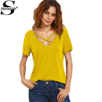 Sheinside Cross Front T-shirt Women Yellow Double V Neck Sexy Slim Summer Tops 2017 Fashion Short Sleeve Cut Out Casual T-shirt
