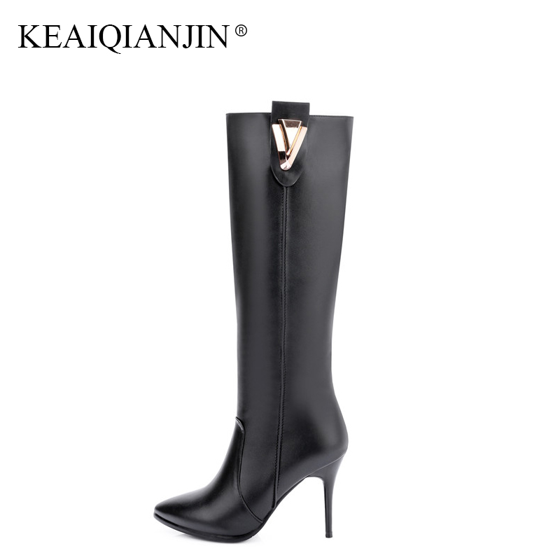 KEAIQIANJIN Genuine Leather Knee High Boots Autumn Winter Black Pink High Heeled Shoes Woman Metal Decoration Knee High Boots keaiqianjin black high heeled shoes autumn winter rivet lace up knee high boots woman genuine leather over the knee boots 2018
