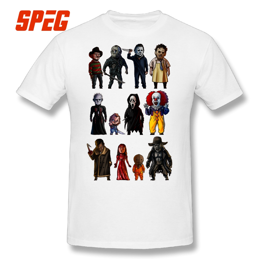 Icons of Horror Movir   T  -  Shirt   Stephen King's It Freddy Michael Myers Tees Chucky Men Cotton Casual   T     Shirt   Short Sleeve Big Size