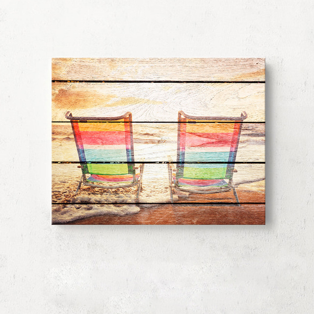 Art Print Oil Painting Beach Chair Framed Wood Pattern Home/Store ...