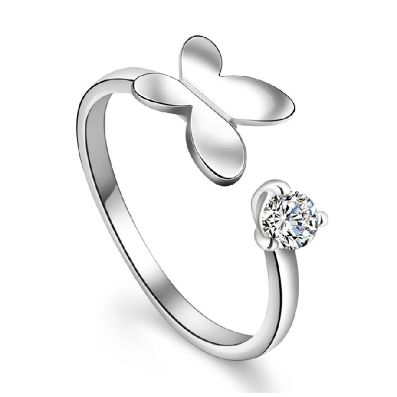 S925 Silver Sparkling Crystal Adjustable Ring Jewellery Womens Xmas Gift