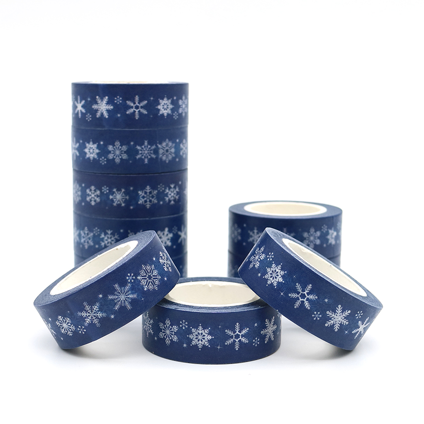 10m*15mm New Design Christmas Series Snowflakes Adhesive Washi Tape DIY Scrapbooking Masking Tape Cute Sticky Paper Tape 1 PCS new 2x christmas golden foil washi paper tape pink background golden washi tape 15mm 10m