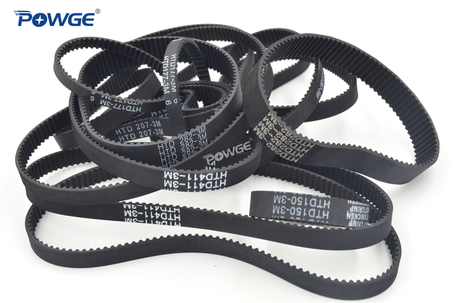 POWGE Arc Teeth HTD 3M 5M 8M Synchronous Belt Rubber Customized production all kinds of HTD3M HTD5M HTD8M Timing Belt pulley