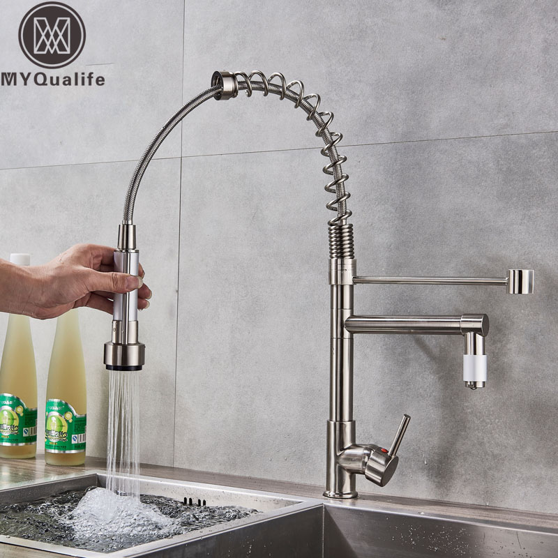 Chrome Pull Down Dual Spout Kitchen Sink Faucet Spring Single Handle Hot Cold Kitchen Sink Mixer Tap Swive Spout Kitchen Tap polished chrome single handle kitchen sink mixer faucet dual spout hands free sprayer with lock