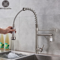Chrome Pull Down Dual Spout Kitchen Sink Faucet Spring Single Handle Hot Cold Kitchen Sink Mixer Tap Swive Spout Kitchen Tap