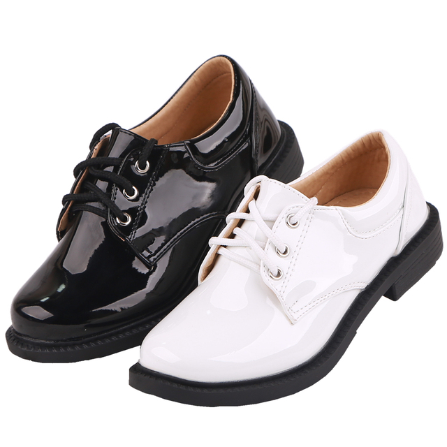 Flower Children Boys Black Patent Leather Dance Formal Dress Shoes For School Teens Boys Stage Perform Party And Wedding Shoes 4