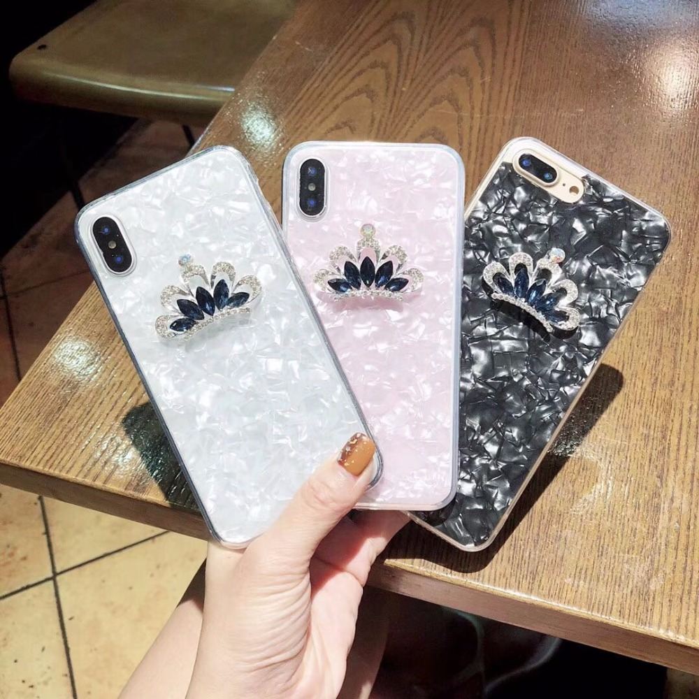 Kuutti Squishy Fashion Rhinestone Crown Decoration Silicone Fitted Phone Cases for iPhone 6s Plus Case for iPhone 6 7 8 Plus X
