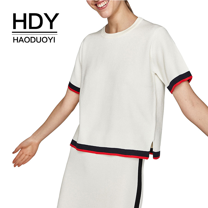 HDY Haoduoyi Women 2019 New Arrival Color Block Short Sleeve Knitted Tops T Shirt Loose O Neck Split Side Female Sweater Tees in T Shirts from Women 39 s Clothing