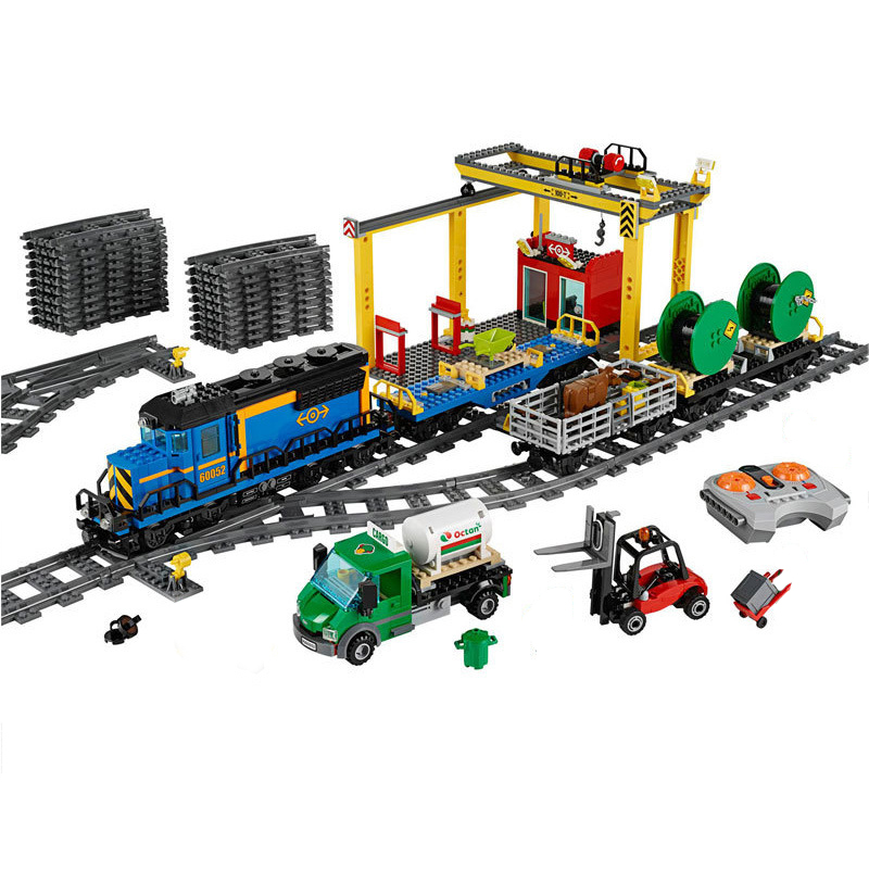 Lepin 02008 City Series the Cargo Train Set Building Blocks 60052 RC Train Educational Toys For Children Christmas Gift Legoings lepin 02006 815pcs city police series the prison island set building blocks bricks educational toys for children gift legoings