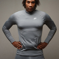 New Hot  Young Men T-shirt Casual Full Sleeve Tights Fitness  T-shirt Fast Drying Clothes Fashion O-Neck Popular Tees