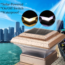 28 LEDs Outdoor Waterproof Solar Post Night Light Fence Lamp Landscape Garden post cap lamp Square Decor