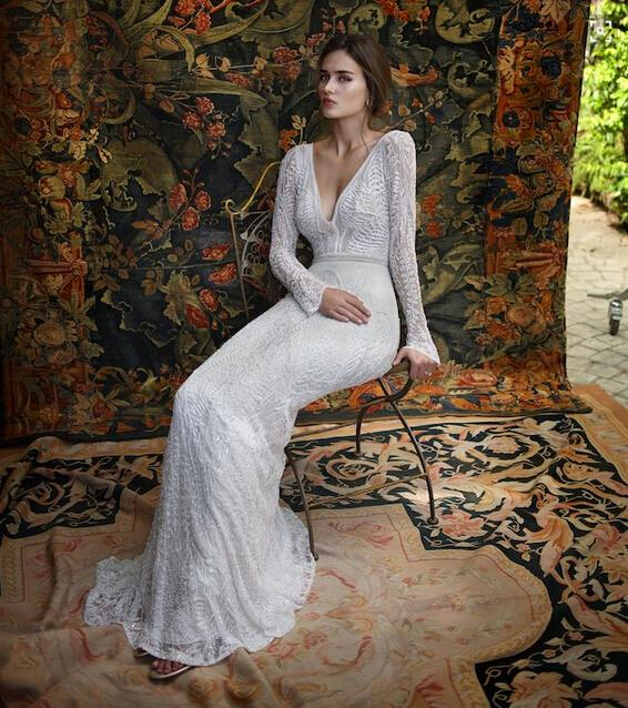 Latest Wedding Gowns Photos: Romantic Latest Lace Backless Wedding Dresses V Neck Long