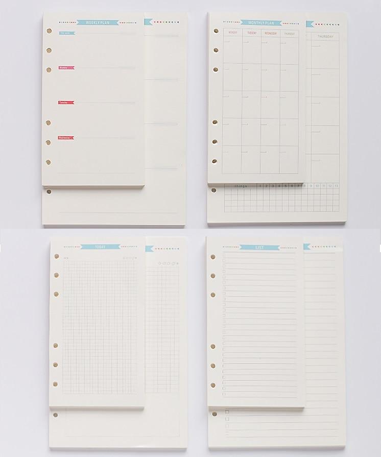 6 Holes Loose Leaf Notebook Spiral Planner Refill