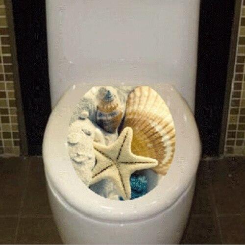 Лидер продаж Туалет украшения Туалет Обложка Наклейка Водонепроницаемый Стикеры Морская звезда