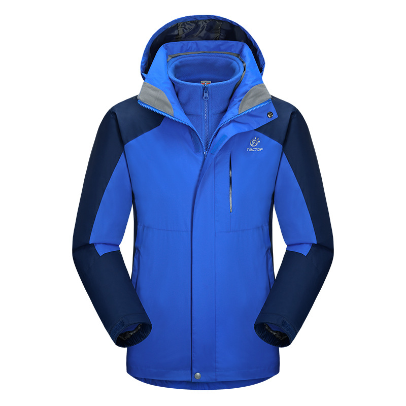 ФОТО Brand Winter 3 in 1 Outdoor Men Hiking Jackets Man Waterproof Thermal two-piece Sportwear Coats For Camping Skiing Hiking S-XXXL