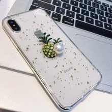 Fashion Gold Foil Glitter Phone Case For iphone XR X XS Max 6 6S 7 8 Plus 3D Cute Pineapple Pearl Transparent TPU Cover Coque