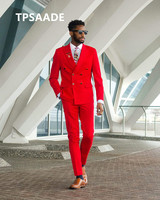 Double breasted red men's groom wedding slim fit dress custom fashion suit groomsman tuxedo 2 pieces