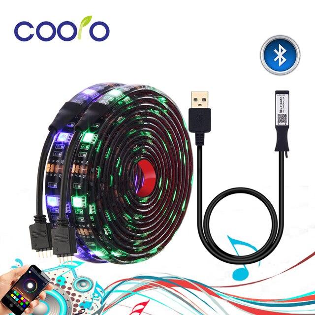 TV arkaplan ışığı RGB LED şerit 5050 su geçirmez 5V USB LED şerit dize aydınlatma APP ile Bluetooth denetleyicisi TV PC monitörü dekor