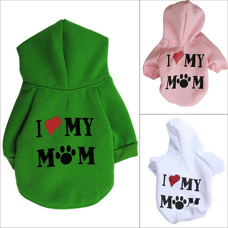 2016 Fashion Pet Dog Clothes I Love My Mum Sweatshirt Hoodie For Winter Warm Cute Coat Puppy XS,S,M,L