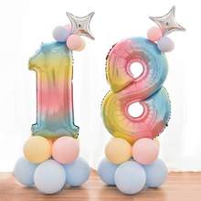 25 Pcs Gradient Digital Balloons Kit Happy Birthday Party Aluminum Foil Balloon Column Baby Shower Wedding Decoration Set A3(China)