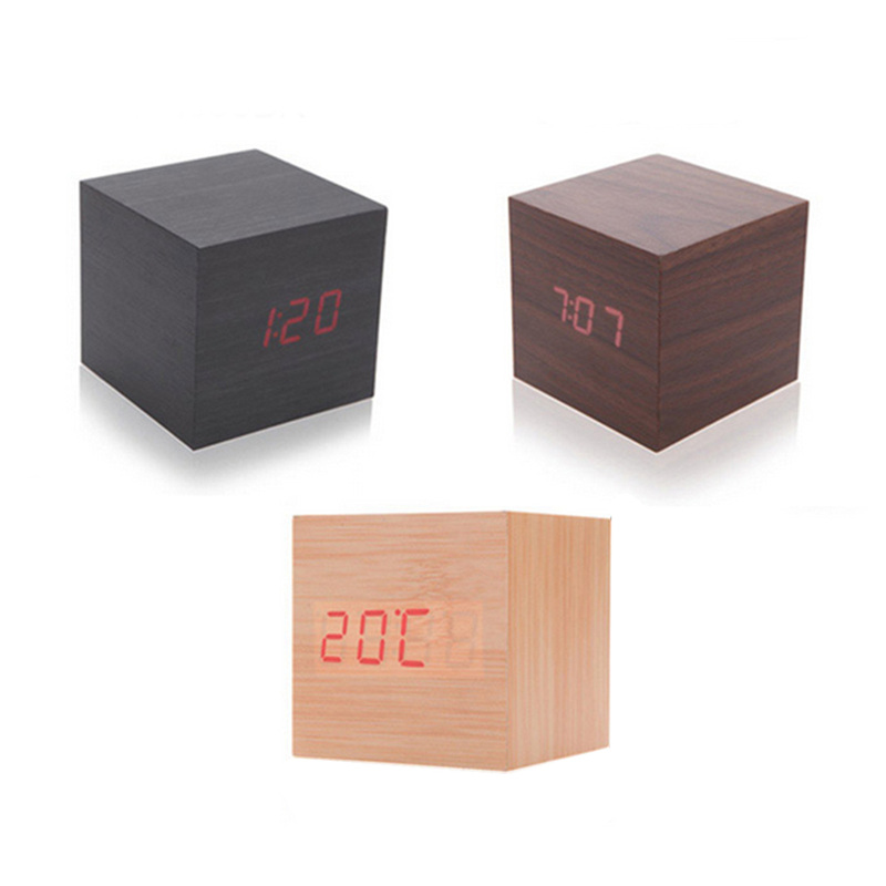 USB Desktop Table Wooden Wood Small Mini Modern Led Digital Alarm Clock Desk Home Decoration Square Sound Control Clocks Decor